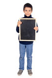 Board. Little boy holding a black board Royalty Free Stock Photo