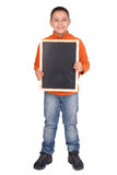 Board. Little boy holding a black board Royalty Free Stock Images