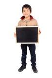 Board. Little boy holding a blackboard Stock Photography