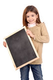 Board. Little girl holding a black board Stock Photography