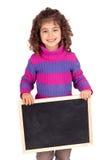 Board. Little girl holding a blackboard Stock Image