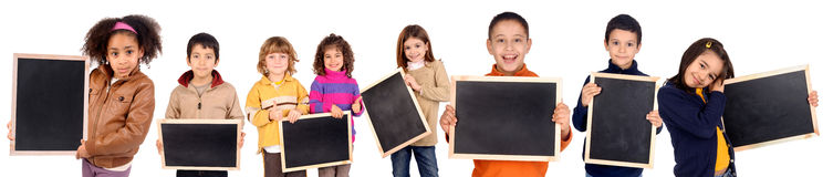 Board. Little kids holding a black board Royalty Free Stock Image