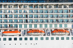 Board of luxury cruise ship. With many decks Stock Photography