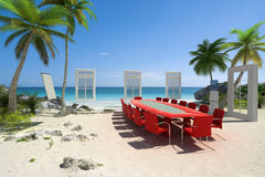 Board meeting at the beach. 3D rendering of a meeting room in a beautiful tropical beach Royalty Free Stock Photography