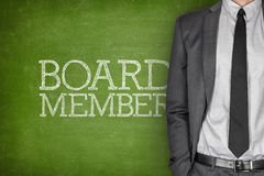 Board member on blackboard. With businessman in a suit on side Royalty Free Stock Image