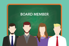 Board member white text illustration with four people standing in front of green chalk board Stock Photo