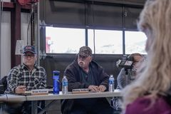 Contentious meeting on 02-13-2018 in small rural town of Julian in San Diego county, Julian Volunteer Fire Department board meetin. Board members, Brian Kramer stock image