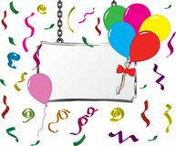 Board in a metal frame hanging on chains with balloons and confetti, vector.  Royalty Free Stock Photo