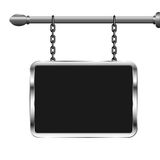 Board in a metal frame hanging on chains. Silver billboard. Isolated vector illustration Royalty Free Stock Photography