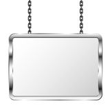 Board in a metal frame hanging on chains. Silver signboard. Isolated vector illustration Royalty Free Stock Image