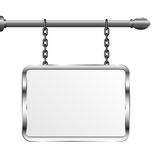 Board in a metal frame hanging on chains. Silver signboard. Isolated vector illustration Royalty Free Stock Images