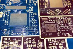 Board for microcircuits and electronic components. Closeup Stock Image