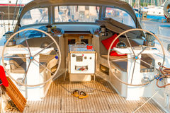 On board an motor yacht. On board an empty motor yacht royalty free stock image