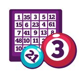 Board with numbers and numberd balls for bingo game Stock Photo
