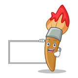 With board paint brush character cartoon Stock Photo