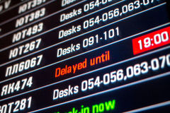 Board panel with flight delayed Stock Photos