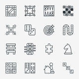 Board and party games outline icons Stock Photo