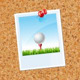 Board with a photo a Golf ball Royalty Free Stock Photos
