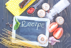 Board for recipe Stock Images