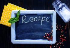 Board for recipe Stock Photos