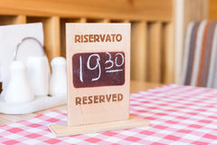 Board with reservation information in restaurant Royalty Free Stock Photos