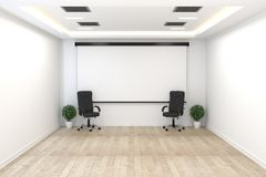 Board room - empty office concept , business interior with chairs and plants and wooden floor on white wall empty. 3D rendering. Mock up Board room - empty stock illustration