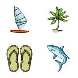 Board with a sail, a palm tree on the shore, slippers, a white shark. Surfing set collection icons in cartoon style Royalty Free Stock Photography