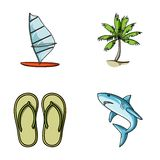 Board with a sail, a palm tree on the shore, slippers, a white shark. Surfing set collection icons in cartoon style Stock Photos