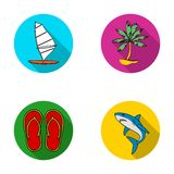 Board with a sail, a palm tree on the shore, slippers, a white shark. Surfing set collection icons in flat style vector Stock Photo