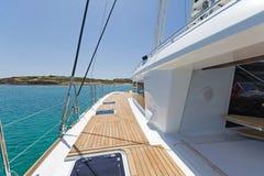 On board of a sailing catamaran royalty free stock photo