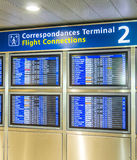 Board with the schedule of departures of planes indicates latest Royalty Free Stock Image