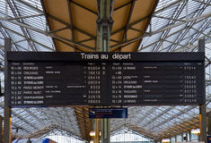 Board schedules of trains stock image