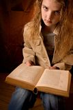 Board school girl. Girl tired and board of reading school work Royalty Free Stock Photography