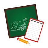 Board school with notebook and pencil Royalty Free Stock Photo