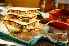 Board with serving of tex-mex appetizers Royalty Free Stock Photography