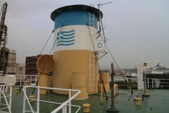 On board of ship S.S. Hellas Liberty in haven of Piraeus. Greece Royalty Free Stock Photo