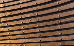Board ship structure background rivet wooden plate bonded background historic sea wall Stock Photography