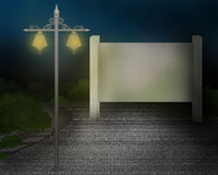 Board sign on road with street light illustration. During night light Royalty Free Stock Images