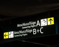 Board signs at a German airport Royalty Free Stock Image