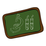 Board with silhouette microscope and test tubes Stock Images