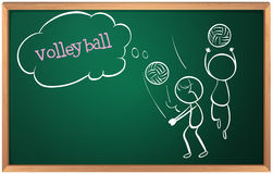 A board with a sketch of two volleyball players Royalty Free Stock Photos