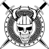 Board and  skull. Board of Viking with crossed swords and  skull Stock Images