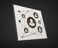 Board about the social network isolated on dark. 3d render of board about social network isolated on a dark background Stock Images