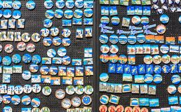 Board with souvenir magnets. Rhodes Island. Greece Stock Images