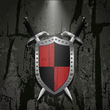 Board on a stone wall background behind it two swords eps 10 Royalty Free Stock Image