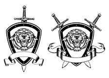 Board sword and tiger head Royalty Free Stock Photos