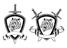 Board sword and tiger head Stock Image