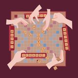 Wooden game. Words from tile scrabble letters stock illustration