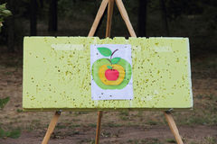 Board with a target to train hitting the aim. Playground Royalty Free Stock Photography