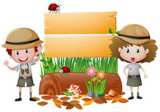Board template with boy and girl in safari outfit Stock Images